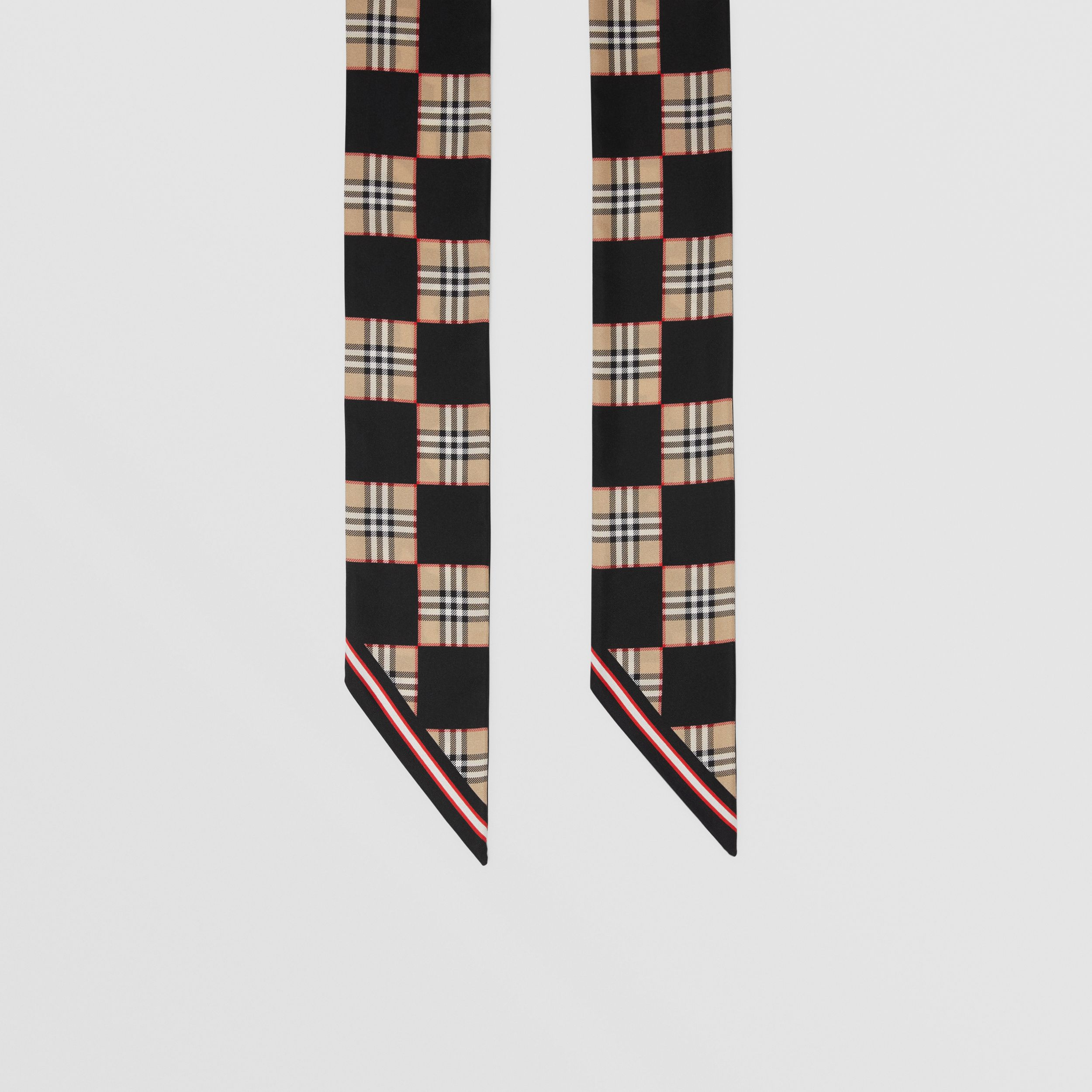Montage Print Silk Skinny Scarf in Archive Beige | Burberry - 3