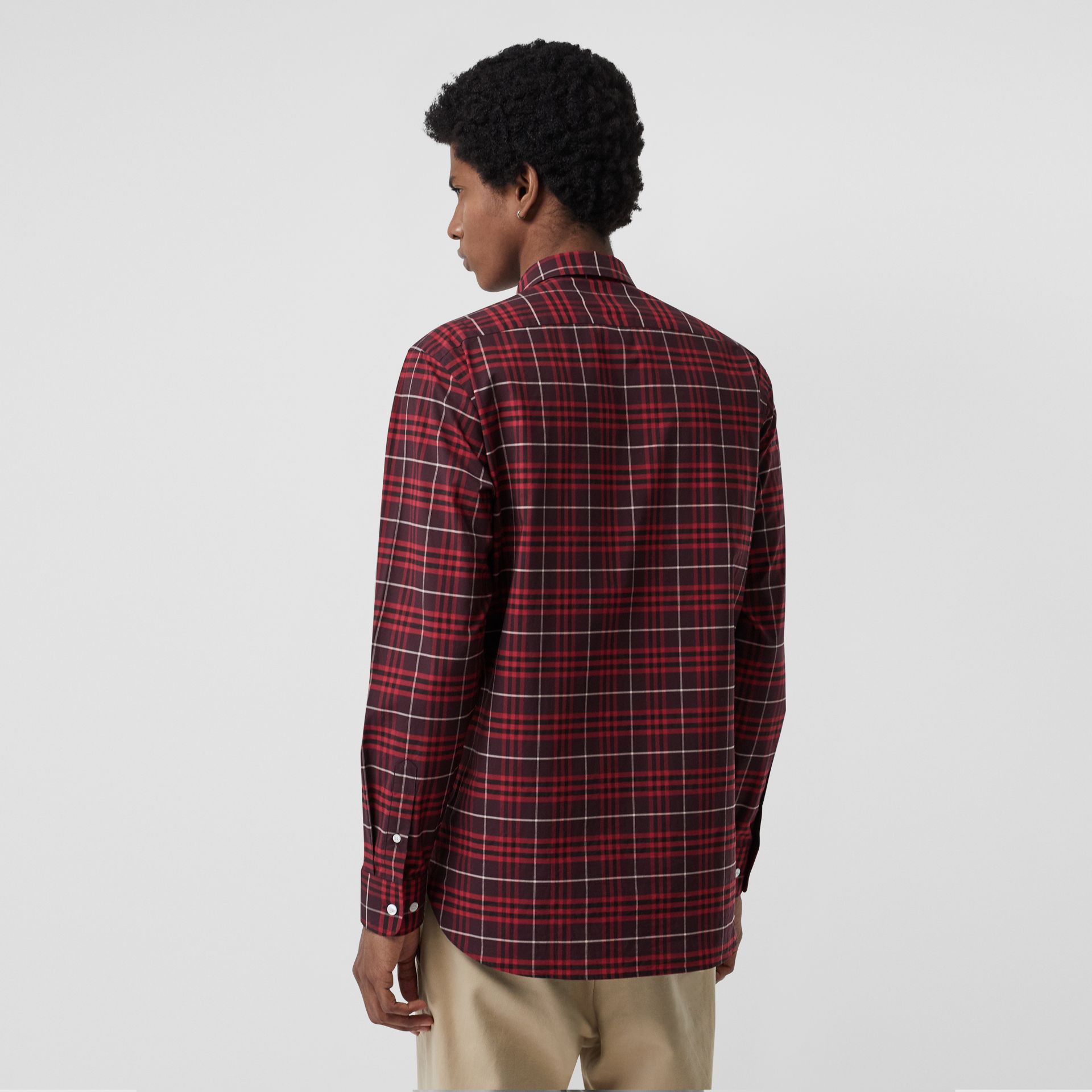 Check Stretch Cotton Shirt in Maroon - Men | Burberry Australia - gallery image 2
