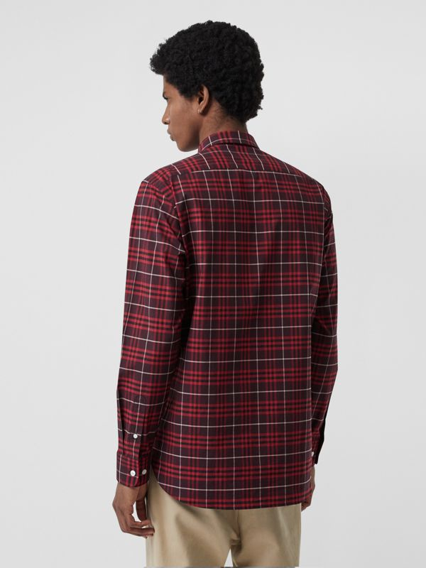 Check Stretch Cotton Shirt in Maroon - Men | Burberry Australia - cell image 2