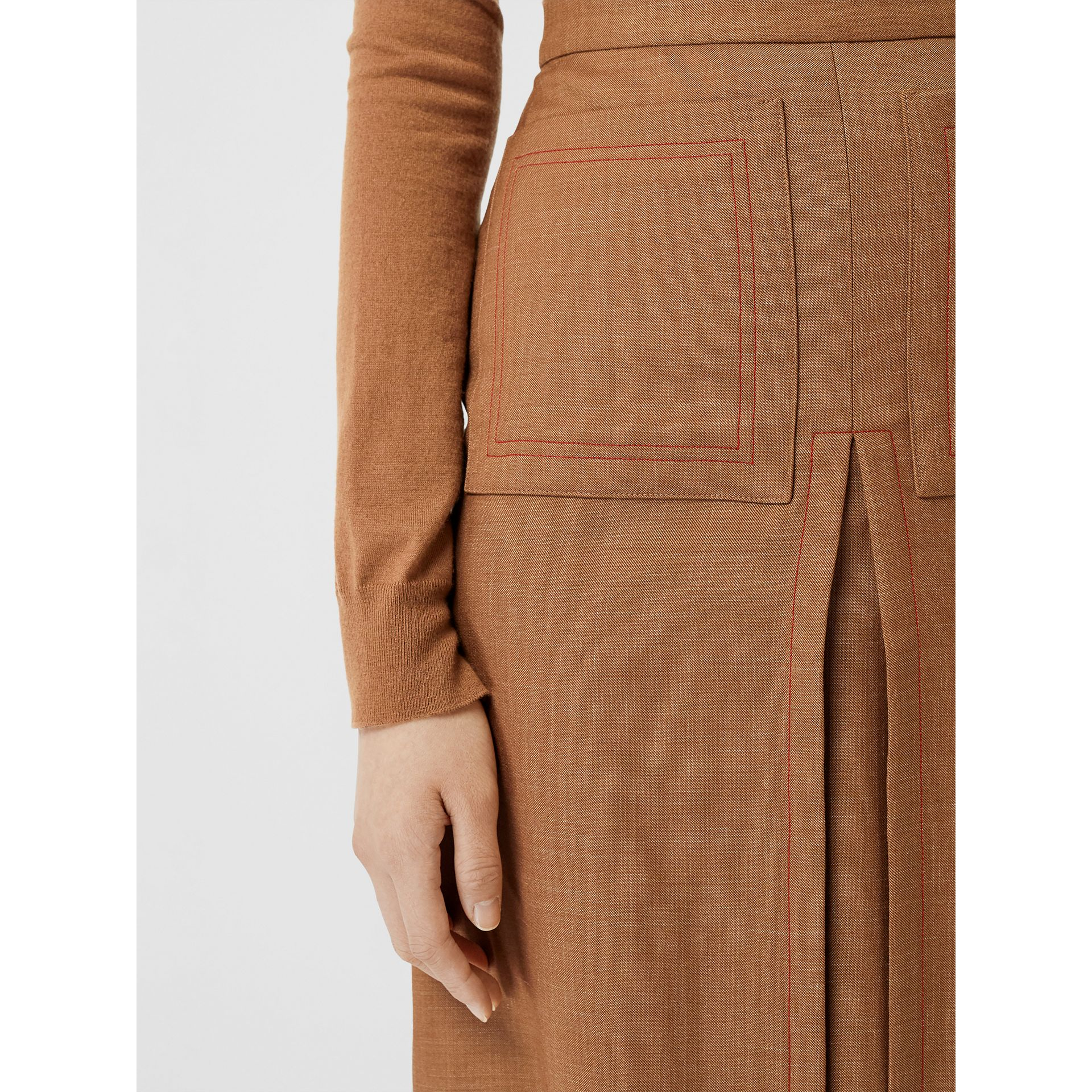 Topstitch Detail Wool Silk Mohair Linen A-line Skirt in Bronze - Women | Burberry - gallery image 5