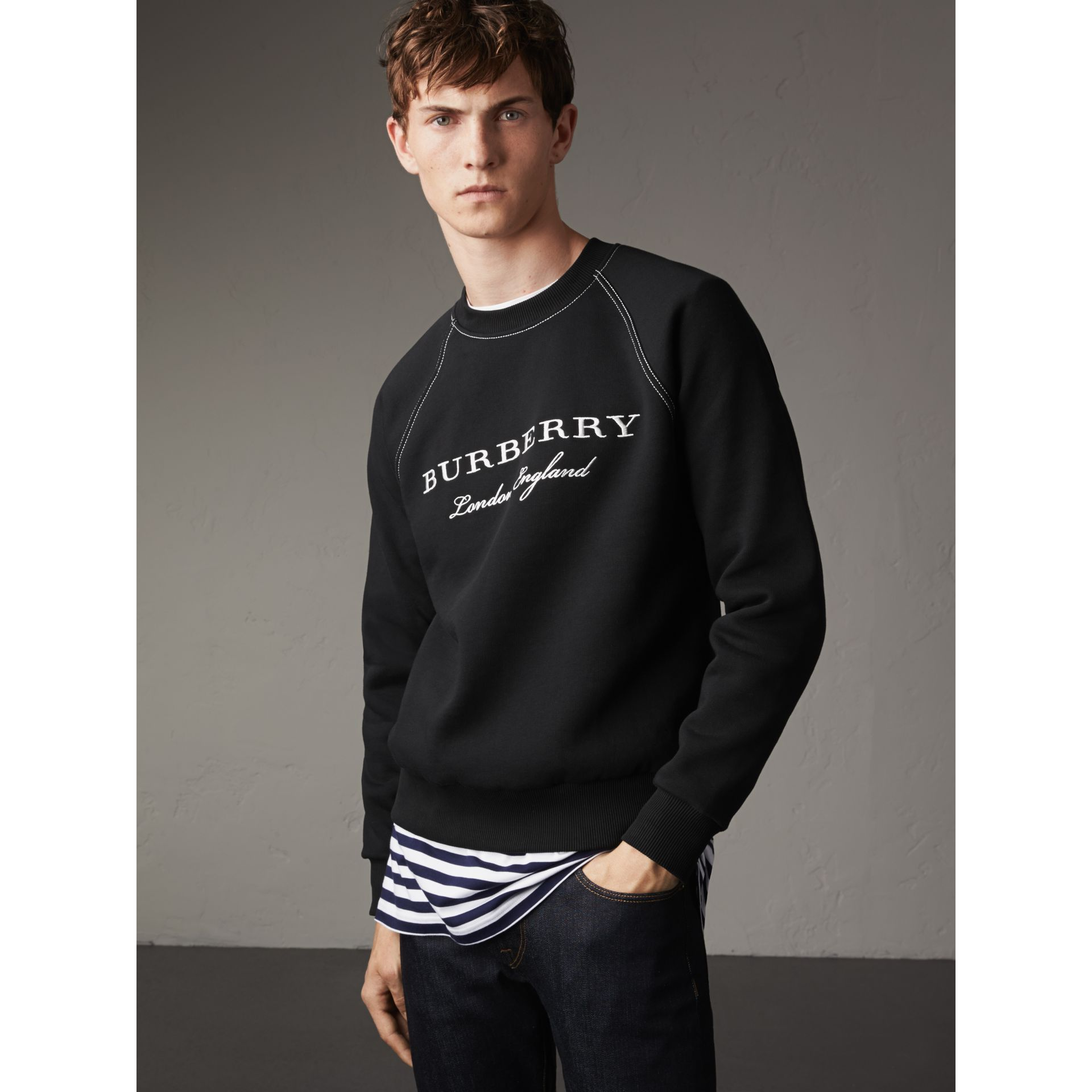 Embroidered Jersey Sweatshirt in Black / White - Men | Burberry - gallery image 5