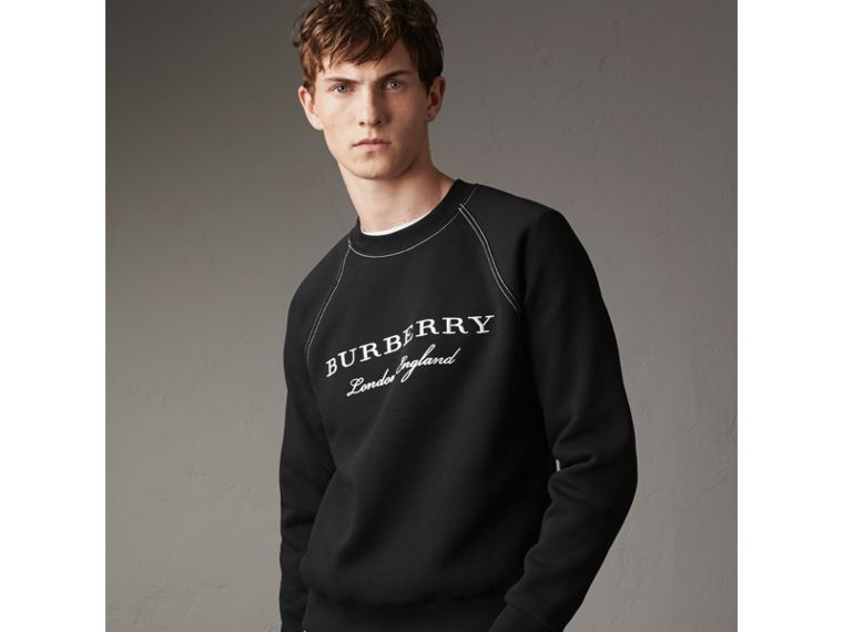 Embroidered Jersey Sweatshirt in Black / White - Men | Burberry Hong Kong - cell image 4