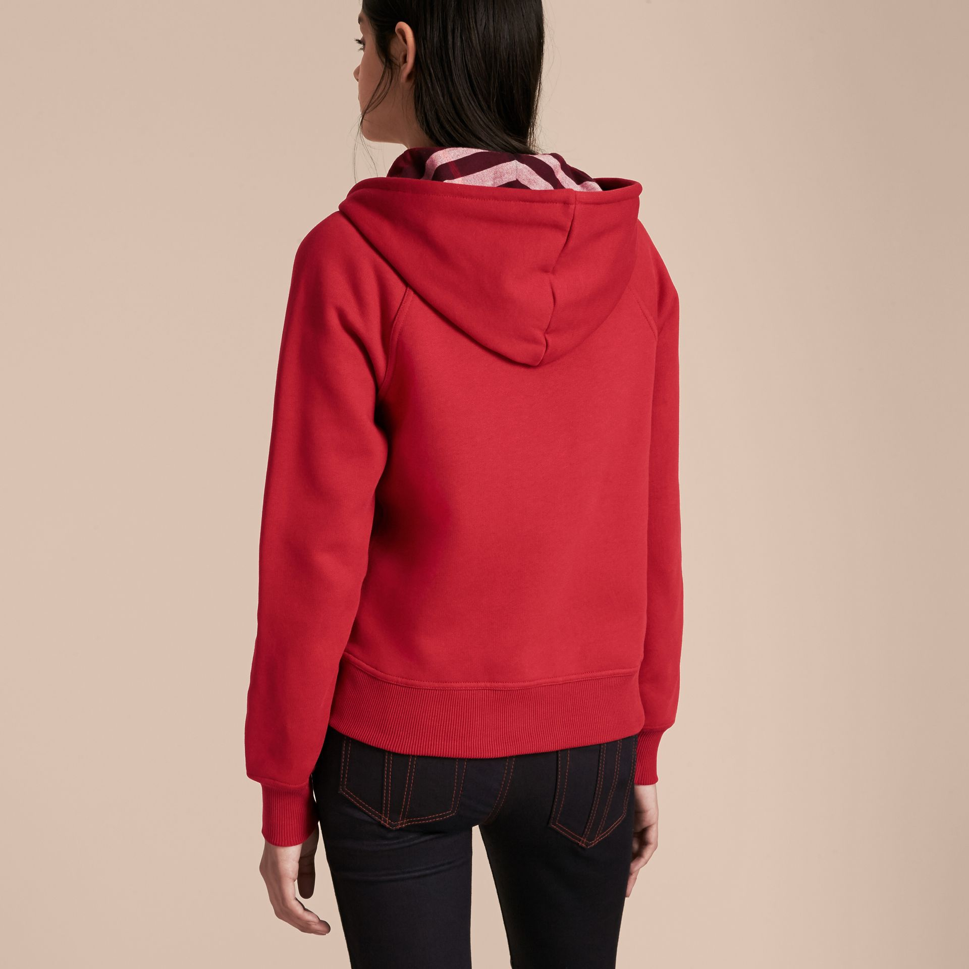 Parade red Hooded Zip-front Cotton Blend Sweatshirt Parade Red - gallery image 3