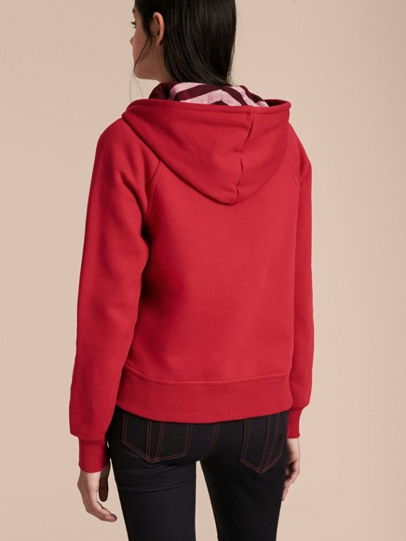 Hooded Zip-front Cotton Blend Sweatshirt in Parade Red - Women | Burberry - cell image 2
