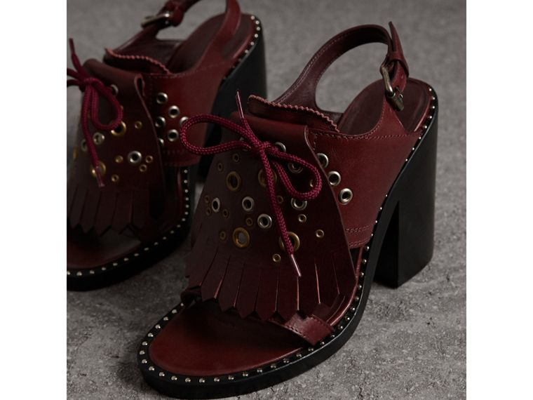 Kiltie Fringe Leather Heeled Sandals in Cerise Purple - Women | Burberry - cell image 4