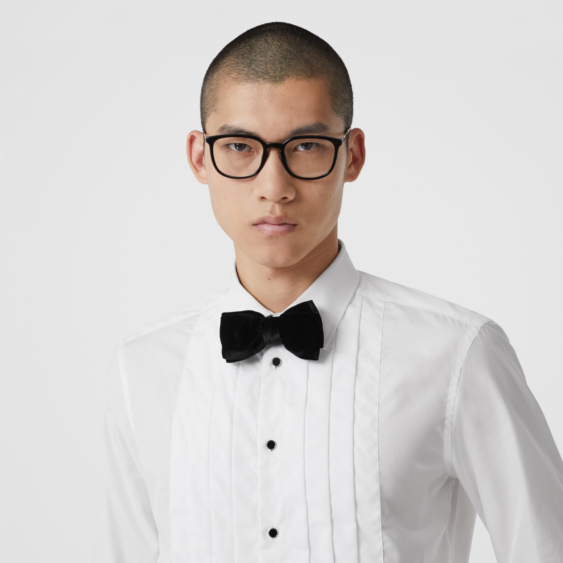 Pleated Bib Cotton Poplin Dress Shirt in Optic White - Men | Burberry - gallery image 1