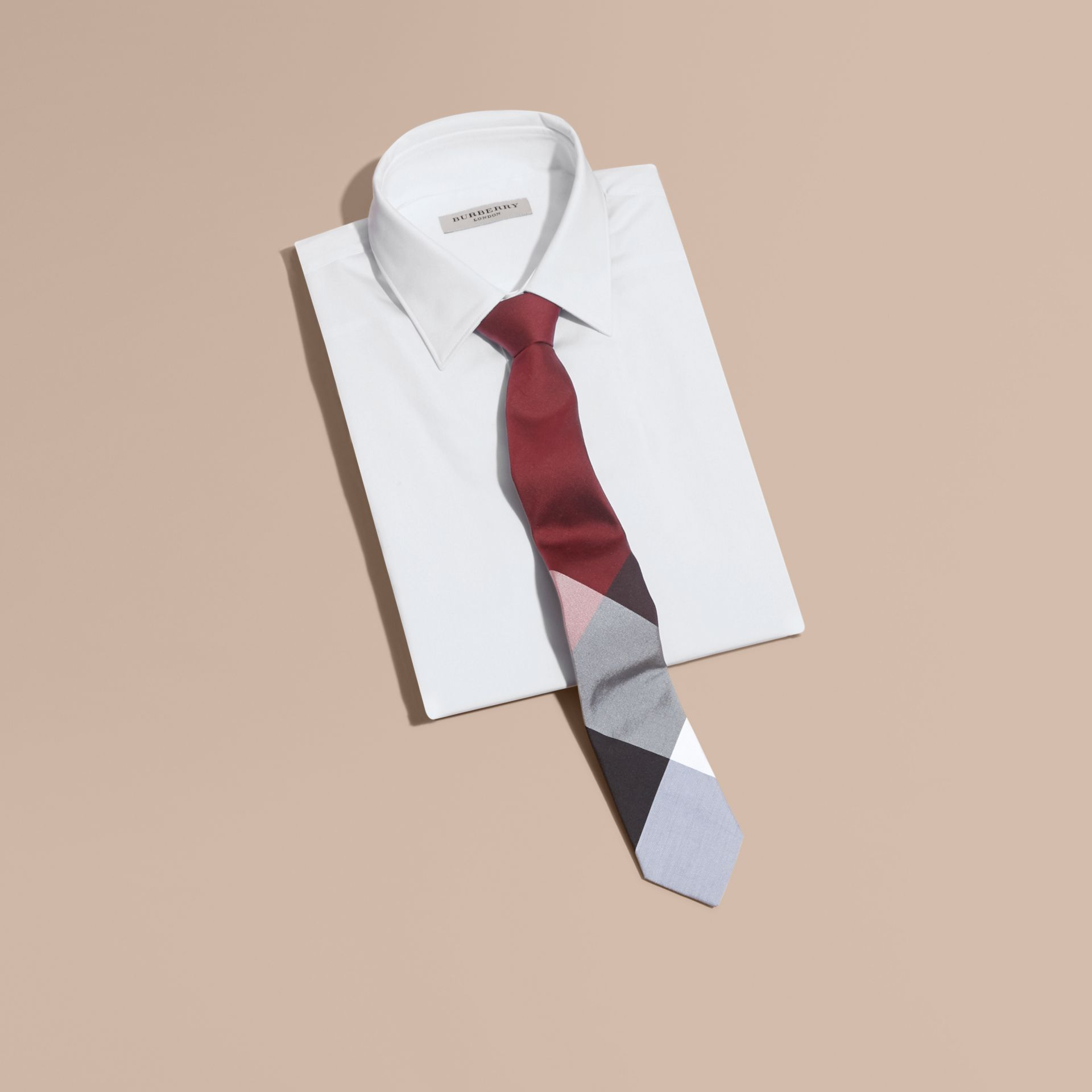 Slim Cut Check Silk Cotton Tie Deep Claret - gallery image 4