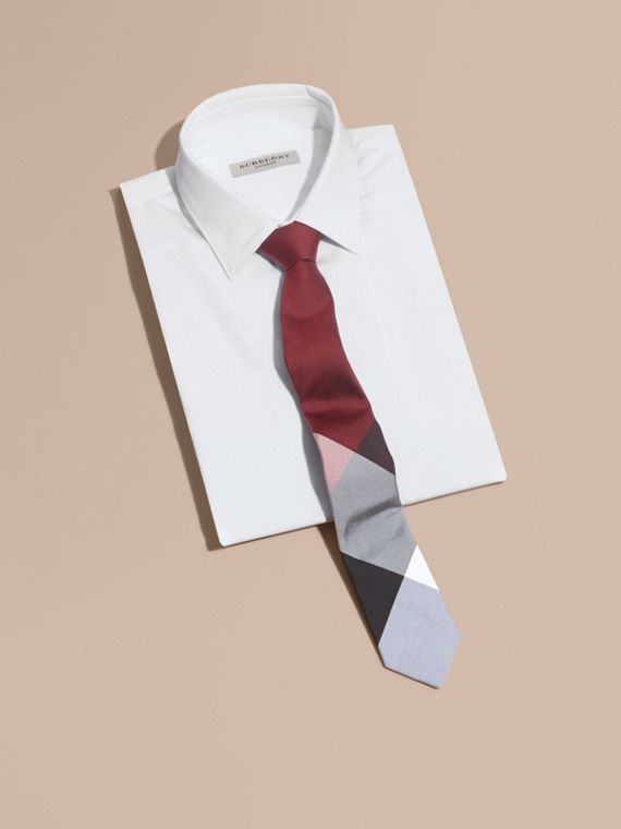 Slim Cut Check Silk Cotton Tie Deep Claret - cell image 3