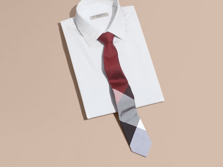 Deep claret Slim Cut Check Silk Cotton Tie Deep Claret - cell image 2