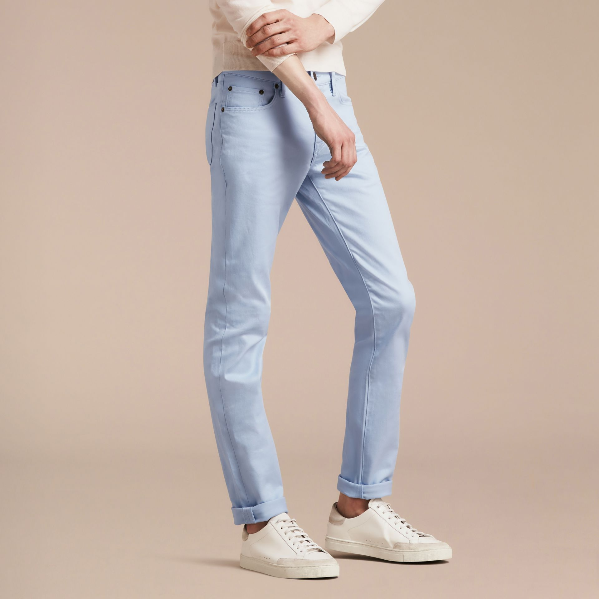 Light blue Slim Fit Japanese Stretch Denim Jeans Light Blue - gallery image 5