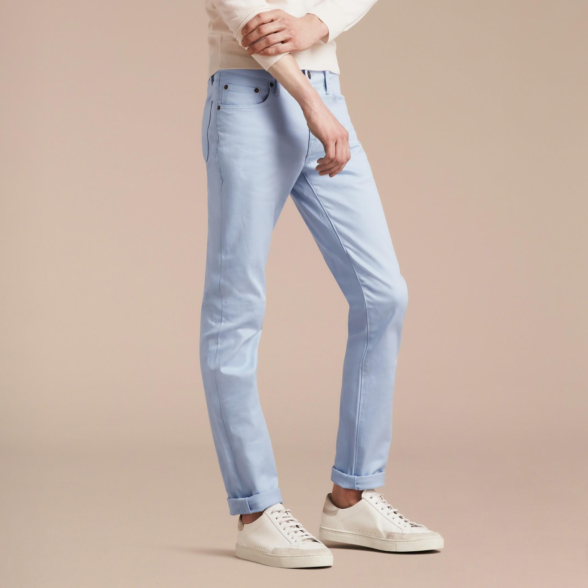 Bleu clair Jean slim en denim stretch japonais Bleu Clair - photo de la galerie 5