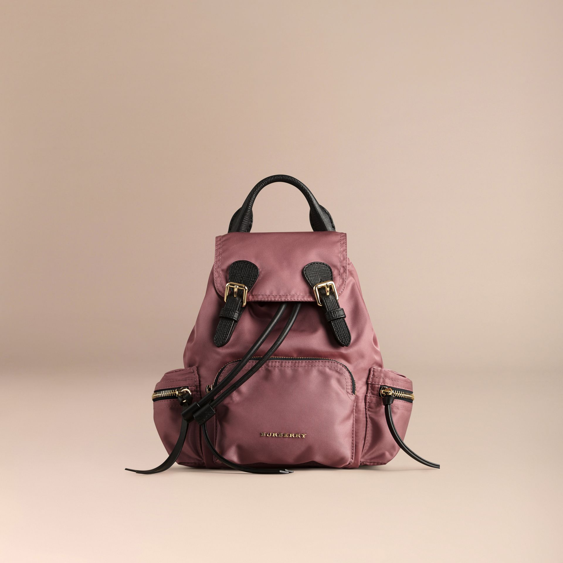 The Small Rucksack in Technical Nylon and Leather in Mauve Pink - gallery image 7