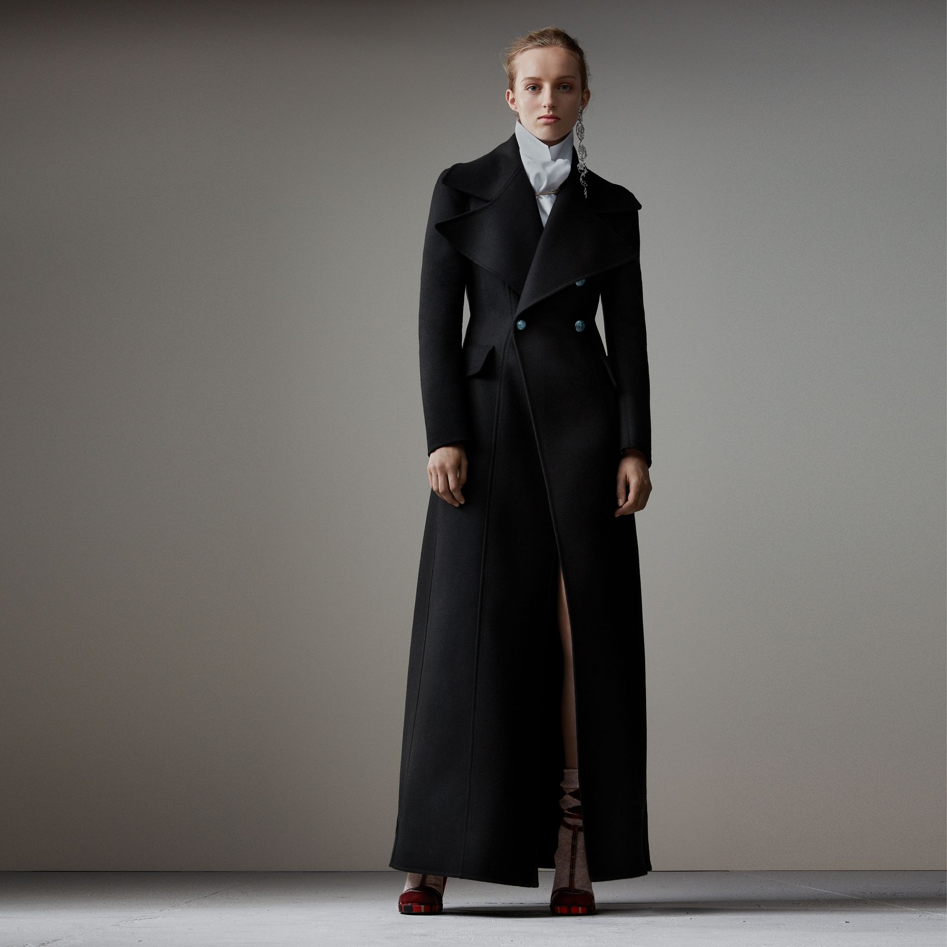 Felted Wool Full-length Tailored Coat in Black - Women | Burberry United Kingdom - gallery image 0