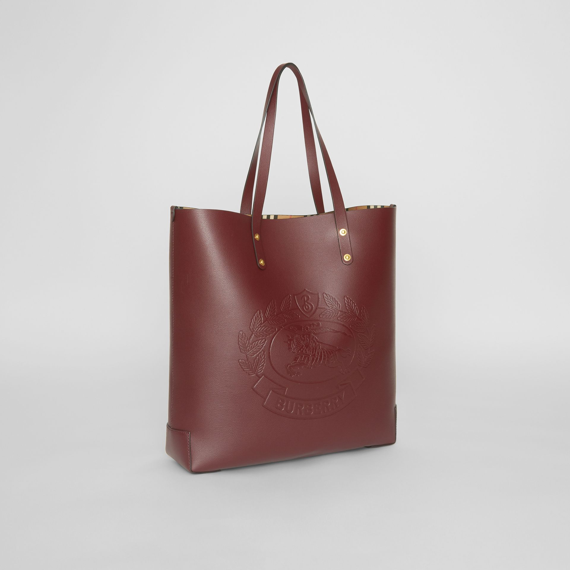 Large Embossed Crest Leather Tote in Burgundy | Burberry - gallery image 6