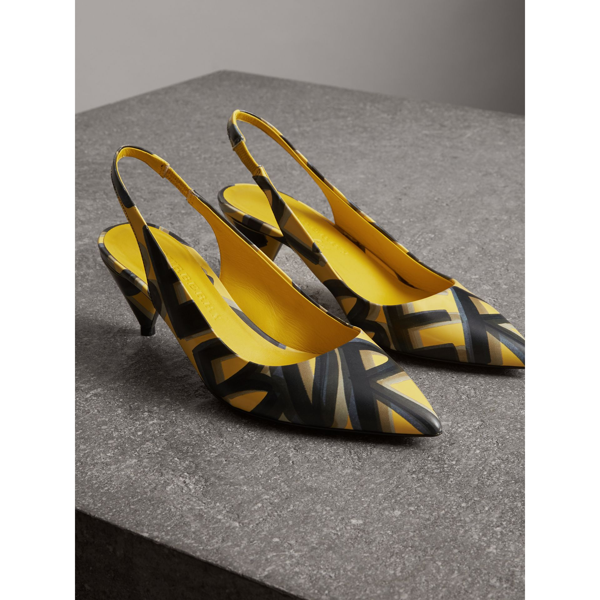 Graffiti Print Leather Slingback Pumps in Vibrant Yellow - Women | Burberry Singapore - gallery image 4