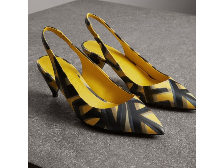 Graffiti Print Leather Slingback Pumps in Vibrant Yellow - Women | Burberry - cell image 4