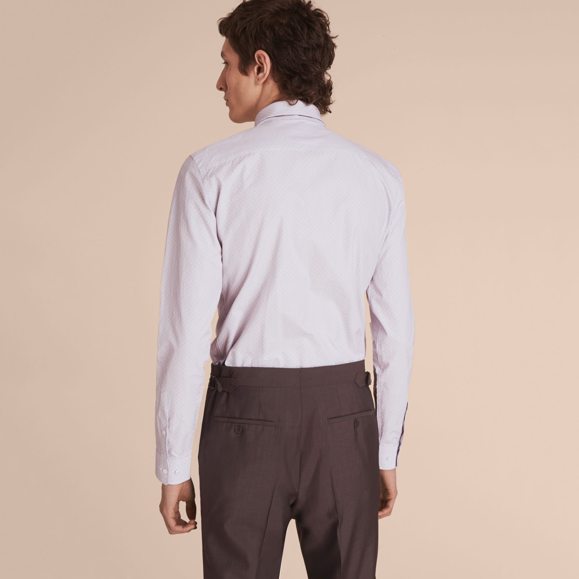 Slim Fit Striped Geometric Dobby Cotton Shirt in Pale Navy - Men | Burberry - gallery image 3