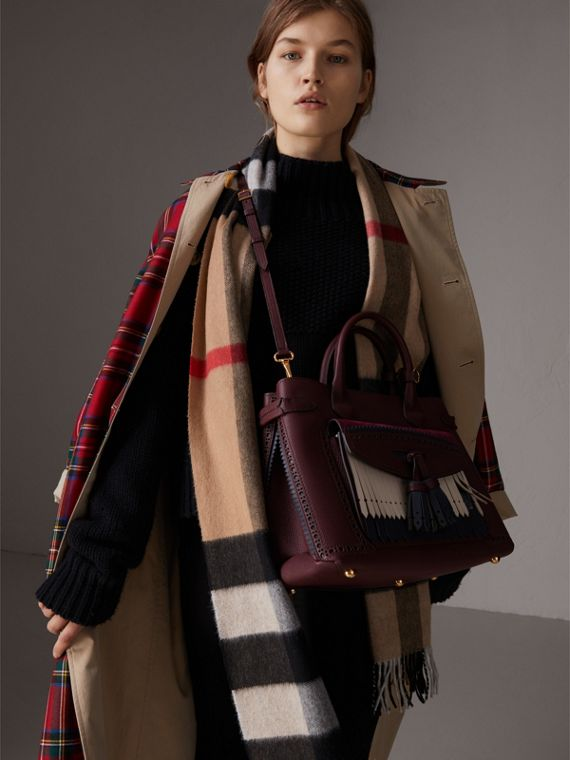 The Medium Banner in Leather with Fringed Pocket in Mahogany Red - Women | Burberry United States - cell image 2