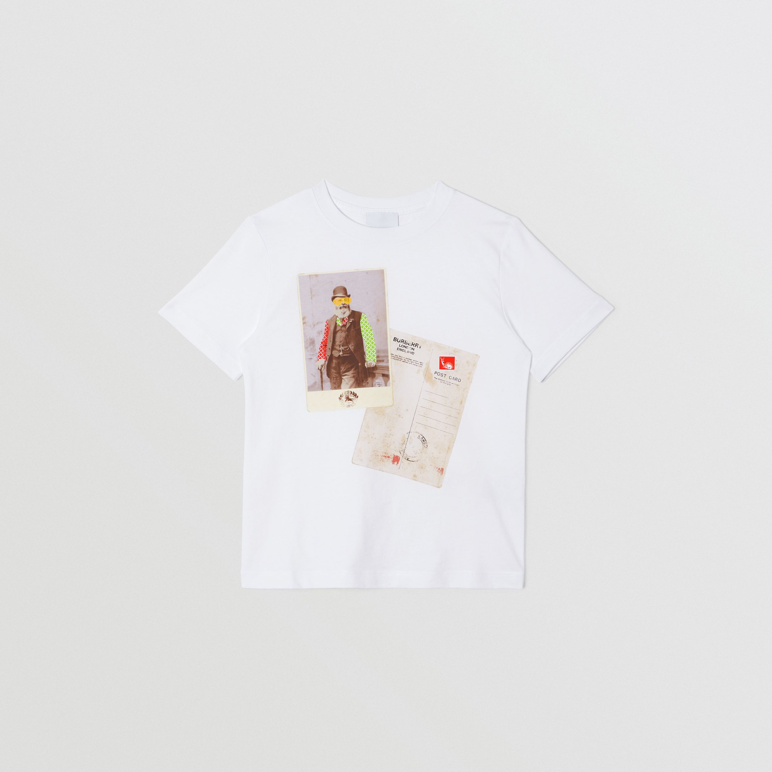Collage Print Cotton T-shirt in White | Burberry - 1