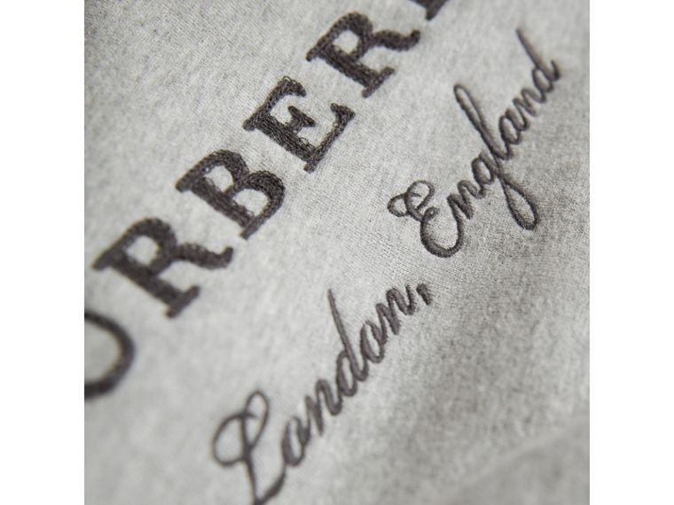 Contrast Stripe Cotton Jersey Sweatshirt in Grey Melange - Boy | Burberry Australia - cell image 1