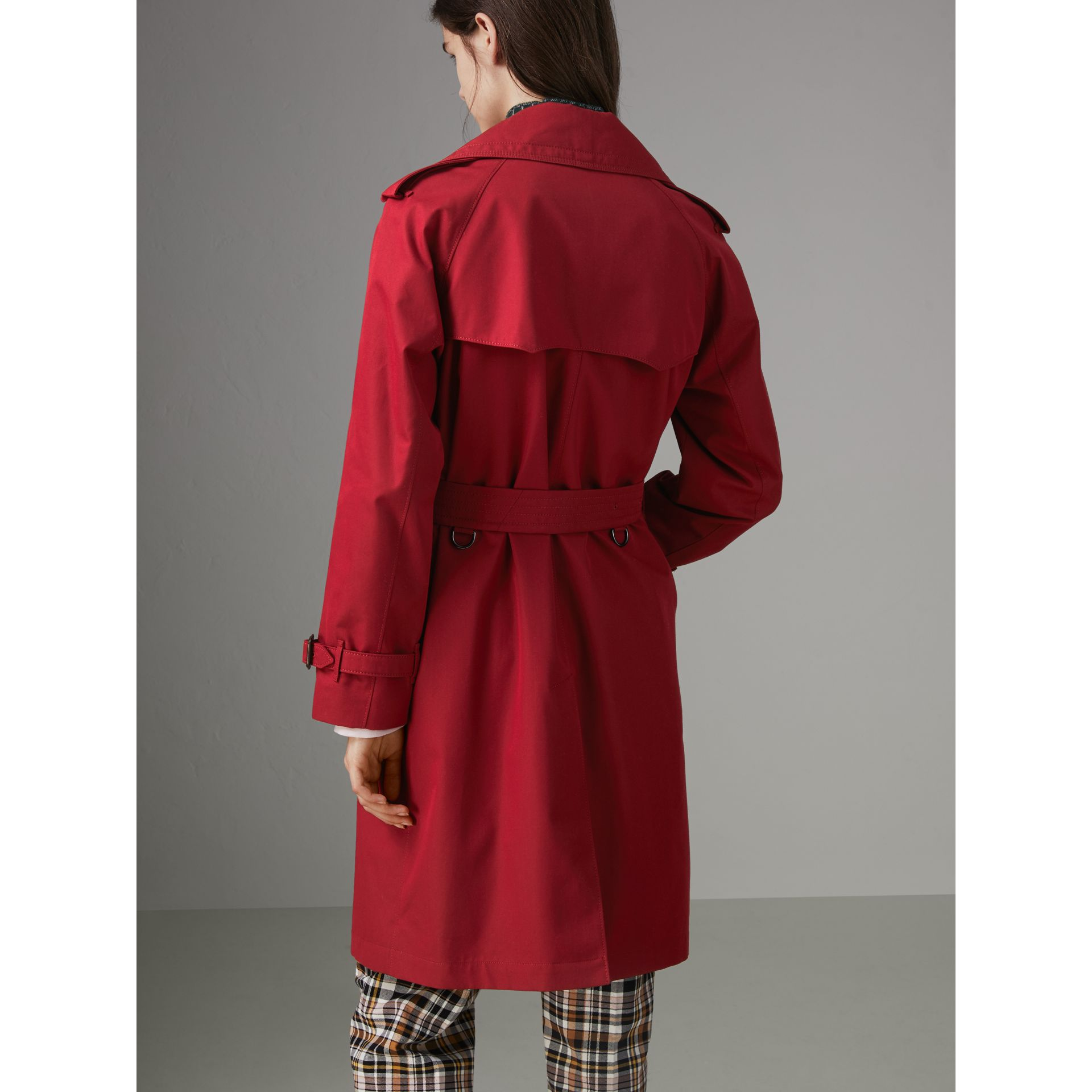 Oversized Lapel Cotton Gabardine Trench Coat in Parade Red - Women | Burberry - gallery image 2