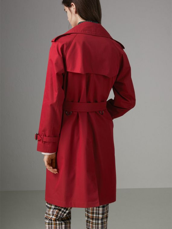 Oversized Lapel Cotton Gabardine Trench Coat in Parade Red - Women | Burberry - cell image 2