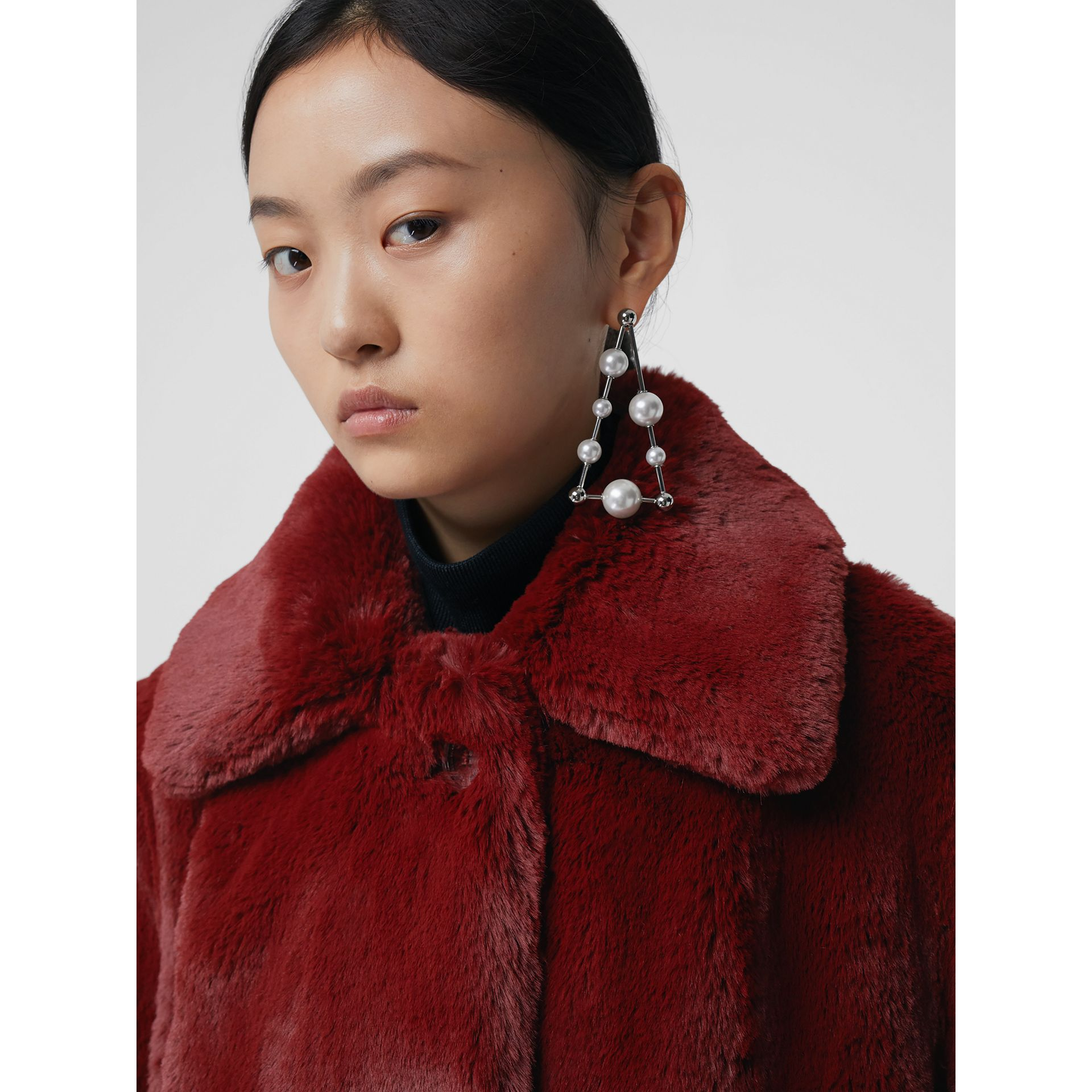 Faux Fur Single-Breasted Jacket in Burgundy - Women | Burberry Australia - gallery image 1