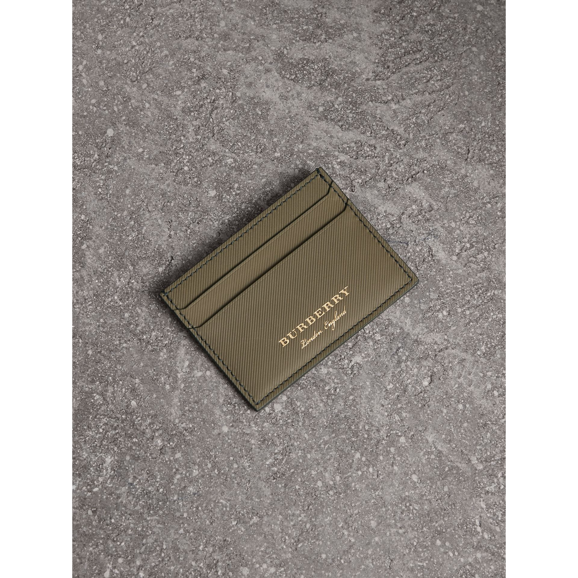 Trench Leather Card Case in Slate Green | Burberry - gallery image 0