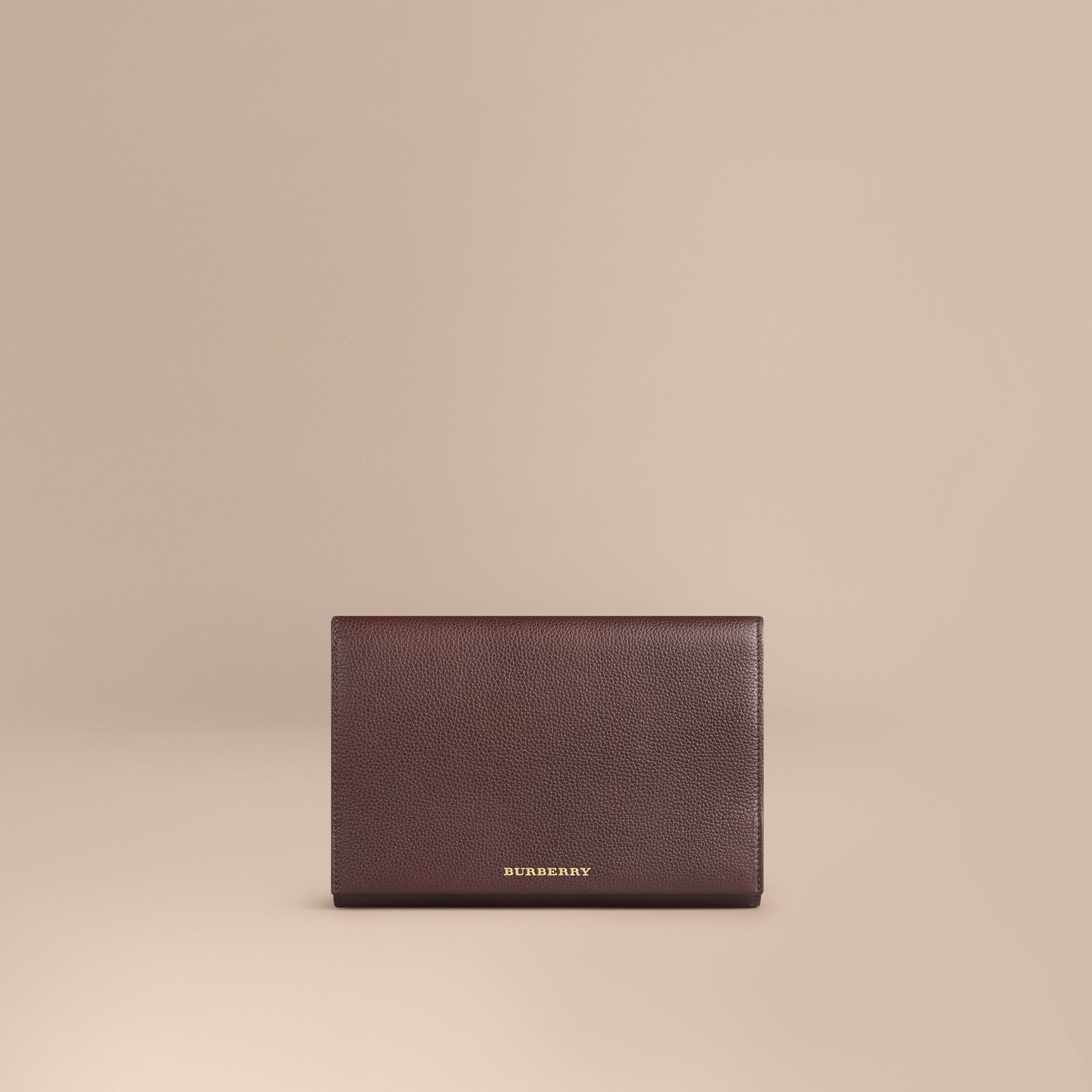 Grainy Leather Travel Wallet in Ebony Red - Men | Burberry - gallery image 1
