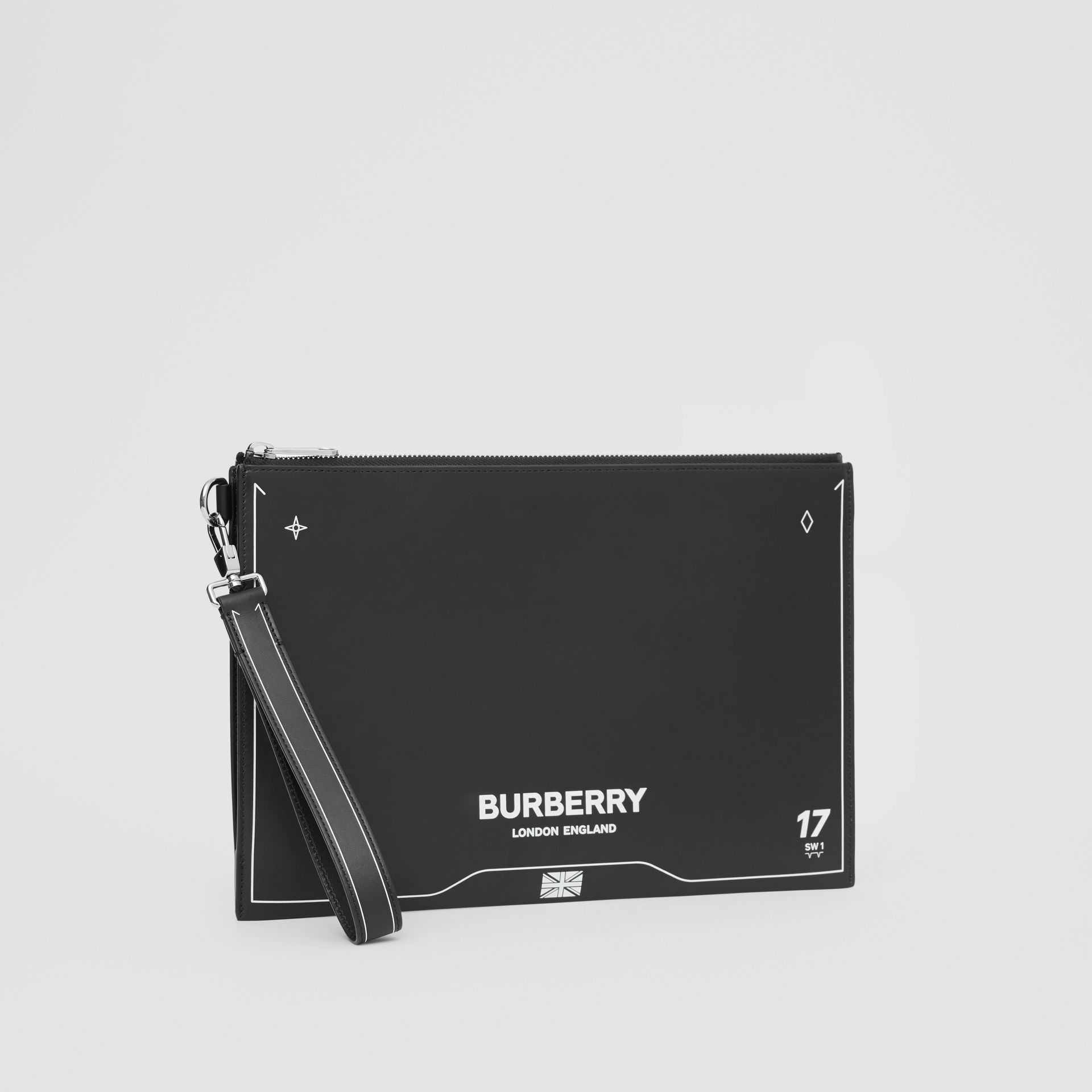 Symbol Print Leather Zip Pouch in Black | Burberry - gallery image 4