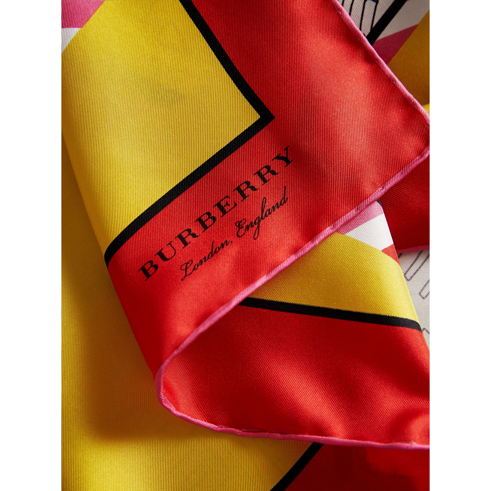 London Print Silk Square Scarf in Bright Yellow | Burberry Canada - gallery image 1