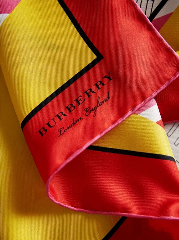 London Print Silk Square Scarf in Bright Yellow - Women | Burberry United Kingdom - cell image 1