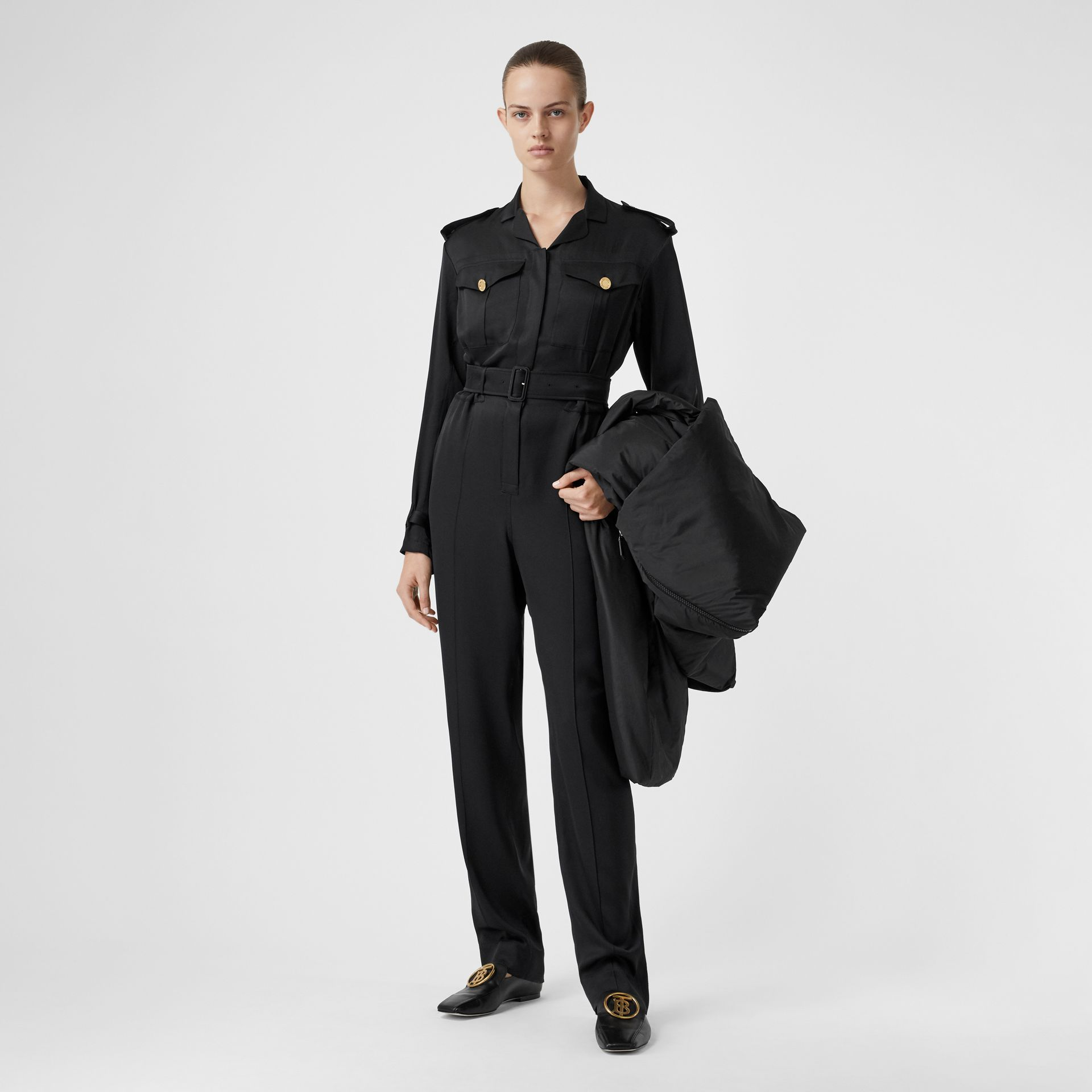 Silk Satin Jumpsuit in Black - Women | Burberry - gallery image 0