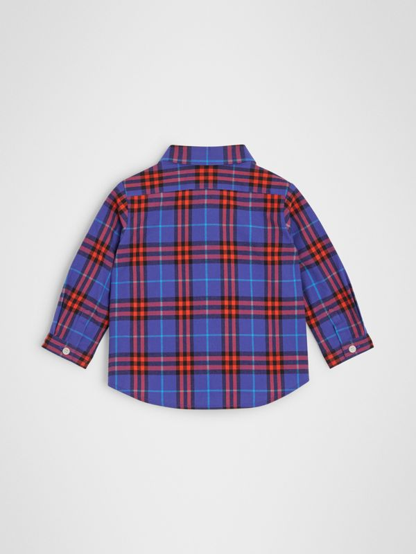 Button-down Collar Check Cotton Shirt in Sapphire Blue | Burberry - cell image 3