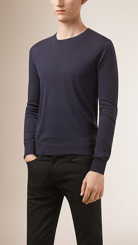 Navy Crew Neck Merino Wool Sweater - Image 1