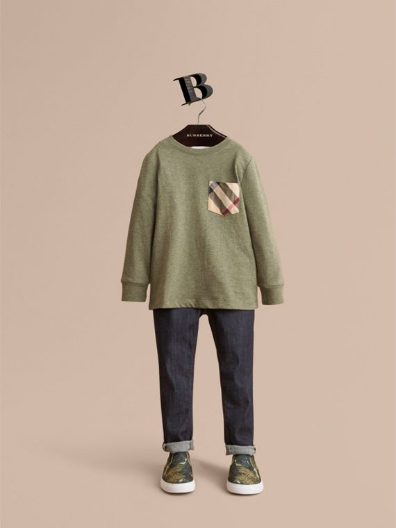 Long-sleeve Check Pocket Cotton T-shirt in Khaki Green Melange