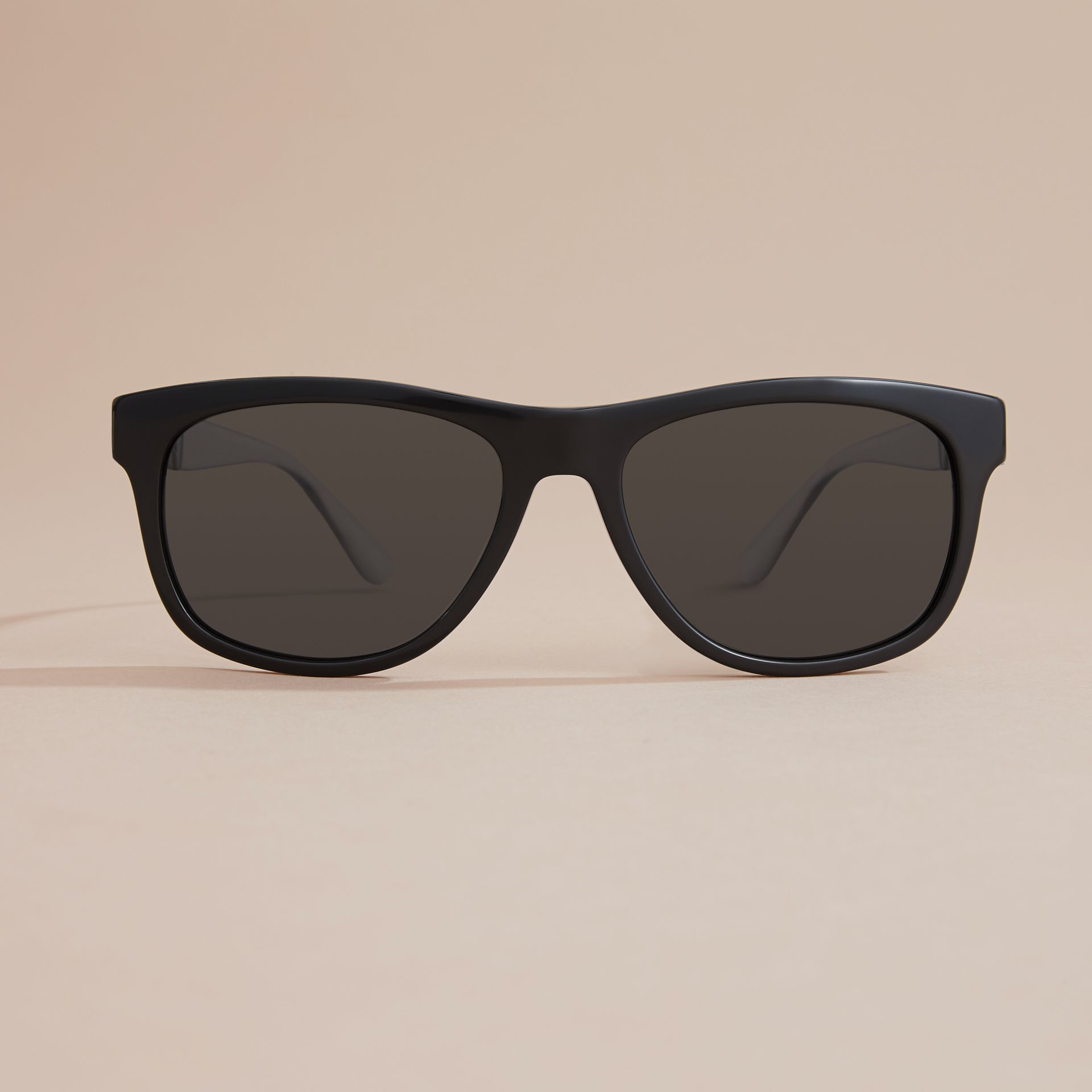 Check Detail Square Frame Sunglasses in Black - Men | Burberry - gallery image 3