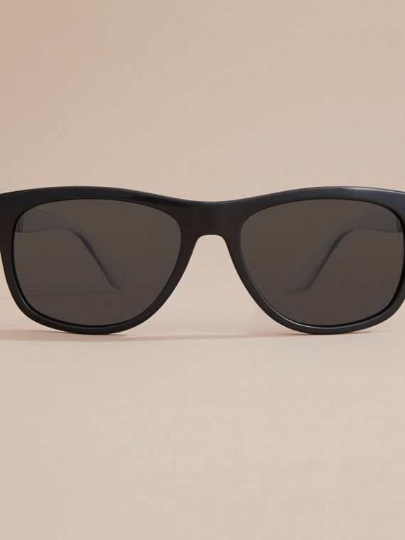 Check Detail Square Frame Sunglasses in Black - Men | Burberry - cell image 2