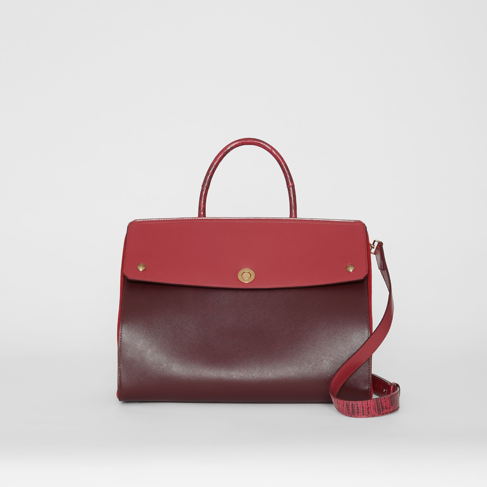Medium Leather and Suede Elizabeth Bag in Crimson - Women | Burberry Australia - gallery image 0