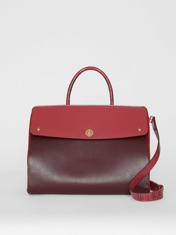 Medium Leather and Suede Elizabeth Bag in Crimson