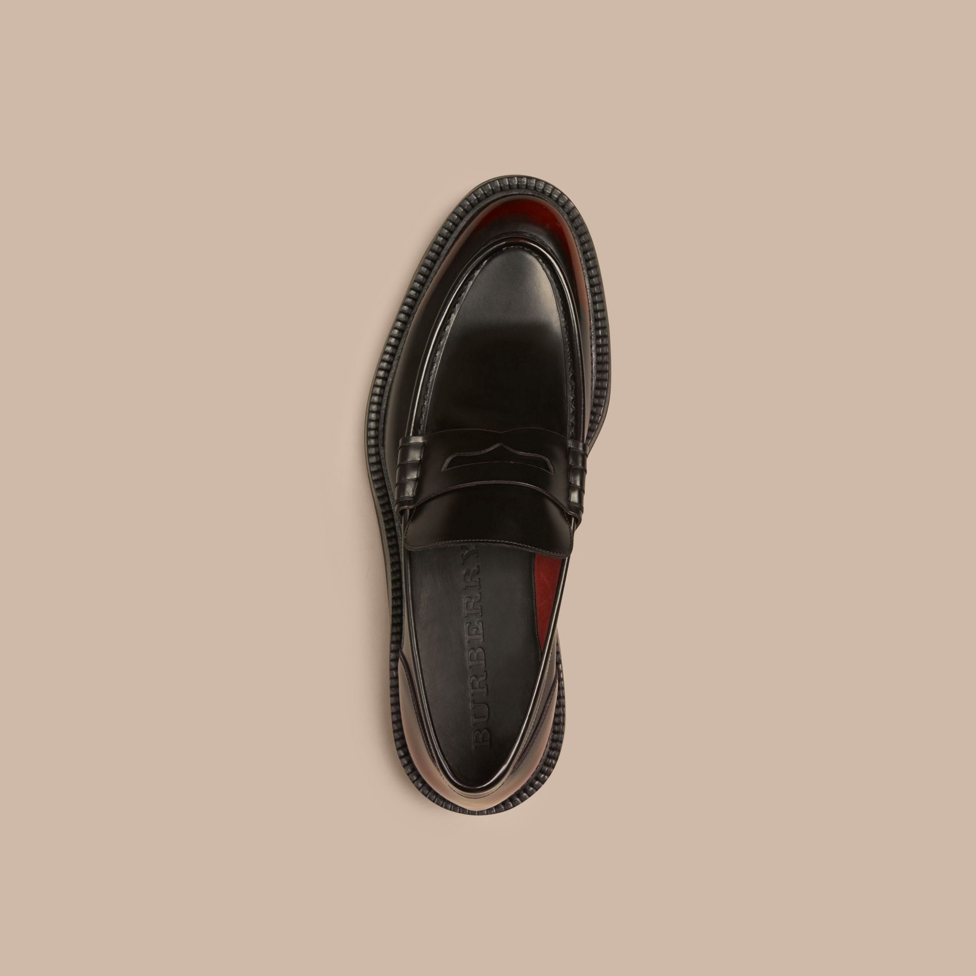 Bordeaux Rubber Sole Leather Loafers - gallery image 3