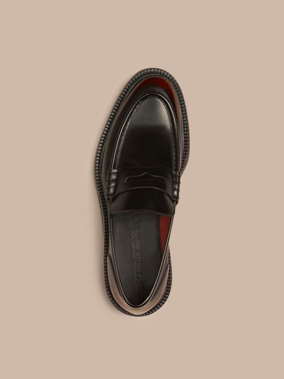 Bordeaux Rubber Sole Leather Loafers - cell image 2