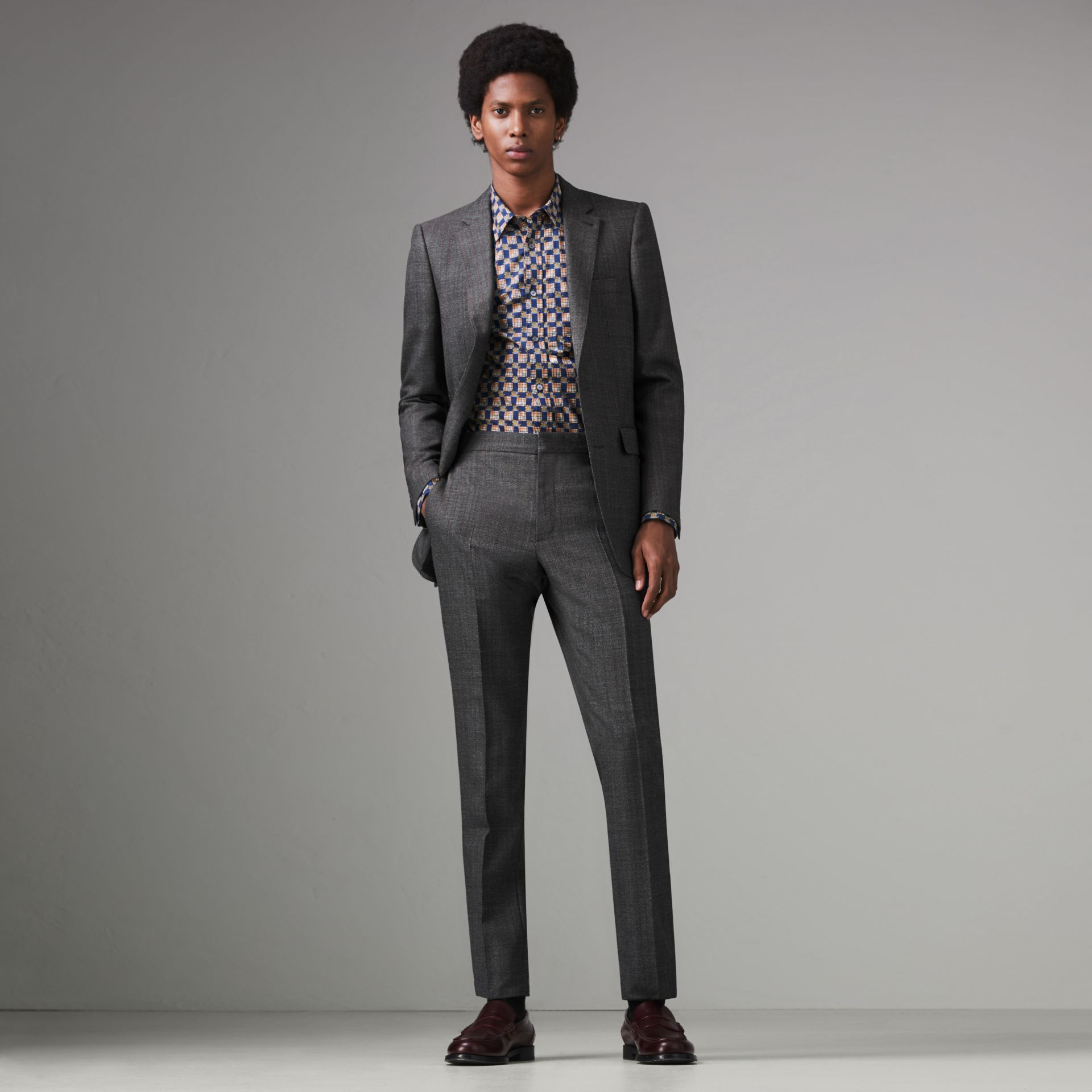Slim Fit English Pinstripe Wool Suit in Mid Grey Melange - Men | Burberry Canada - gallery image 0