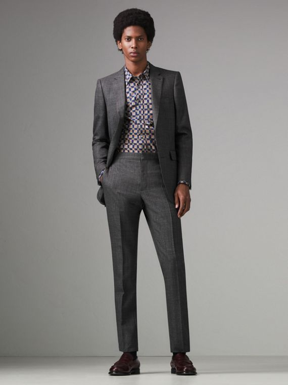 Slim Fit English Pinstripe Wool Suit in Mid Grey Melange