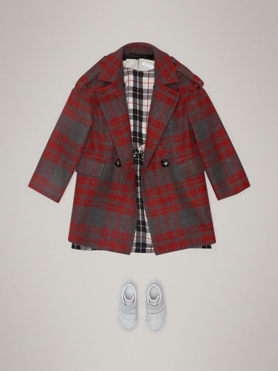 Tartan Wool Tailored Coat in Military Red - Girl | Burberry - cell image 2
