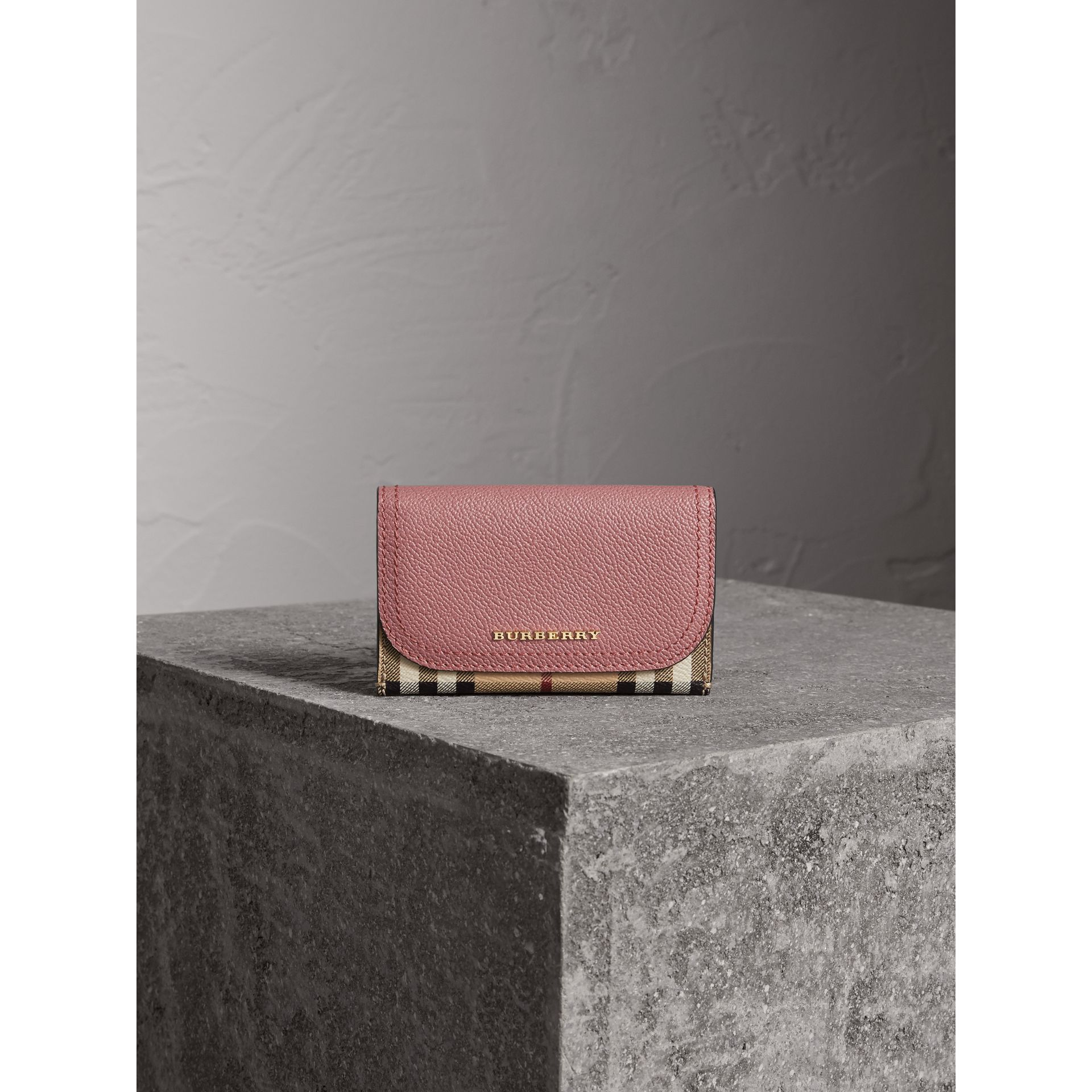 Leather and Haymarket Check Mini Wallet in Dusty Pink / Multicolour - Women | Burberry Singapore - gallery image 2