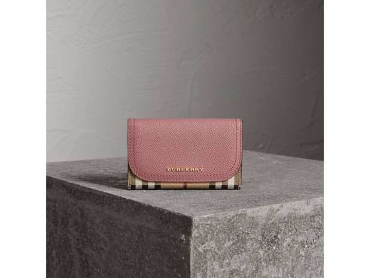 Leather and Haymarket Check Mini Wallet in Dusty Pink / Multicolour - Women | Burberry Singapore - cell image 1