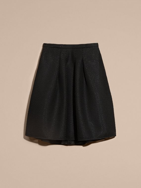 Black Sculptural Mesh A-line Skirt - cell image 3