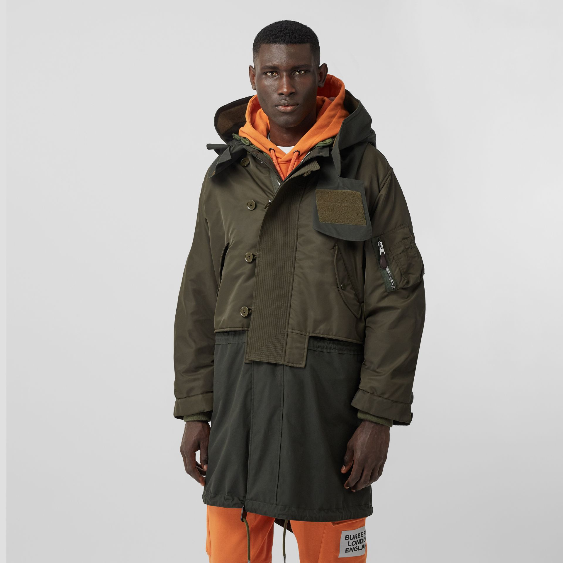 Nylon Hooded Parka with Detachable Warmer in Olive - Men | Burberry Singapore - gallery image 6