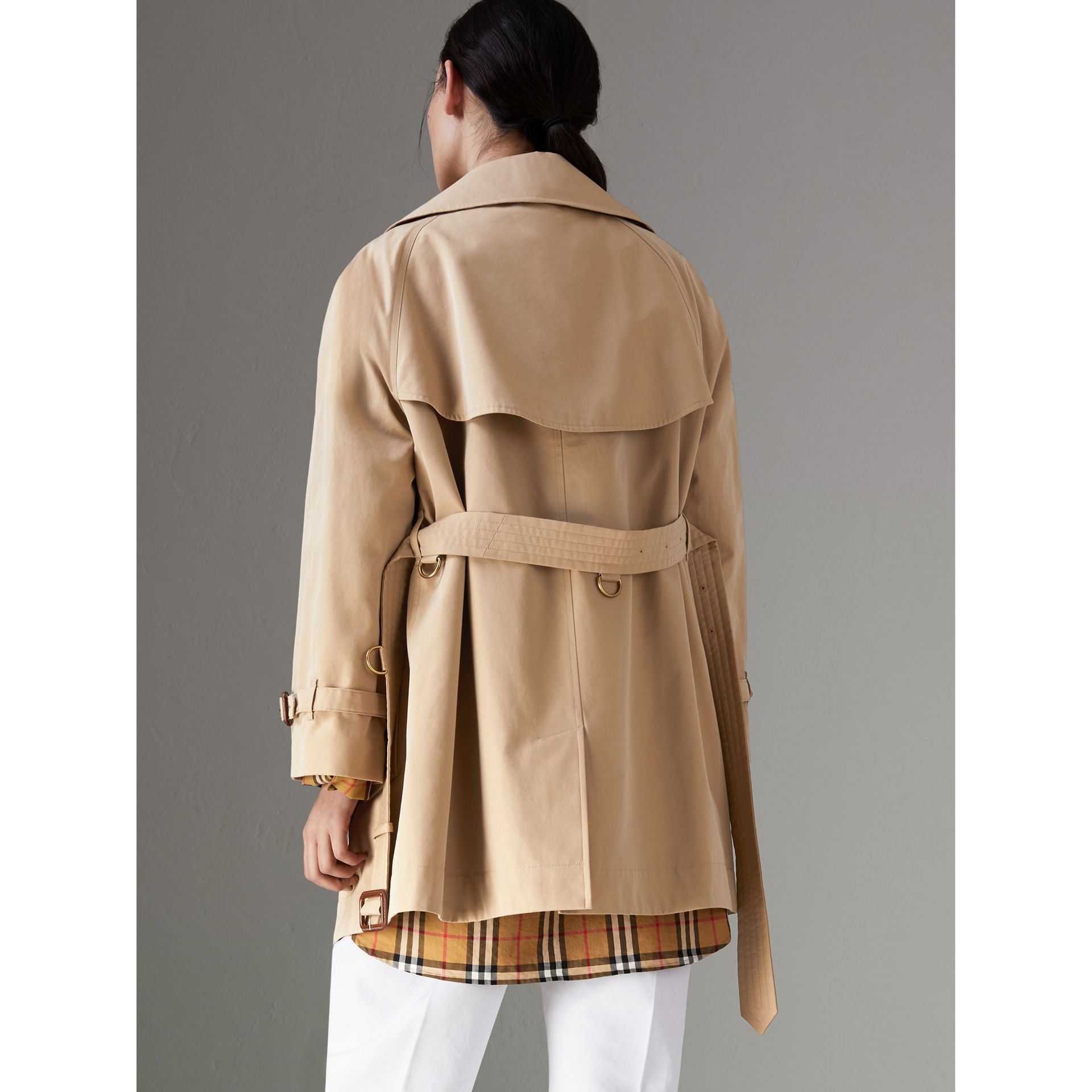 Exaggerated Collar Cotton Gabardine Trench Coat in Honey - Women | Burberry - gallery image 2